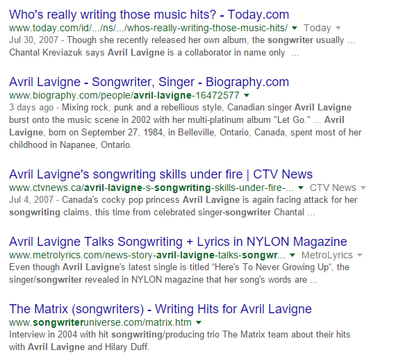 avril lavigne songwriter